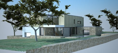 Perspectiva - alçado posterior e alçado lateral esquerdo:   por Davide Domingues Arquitecto