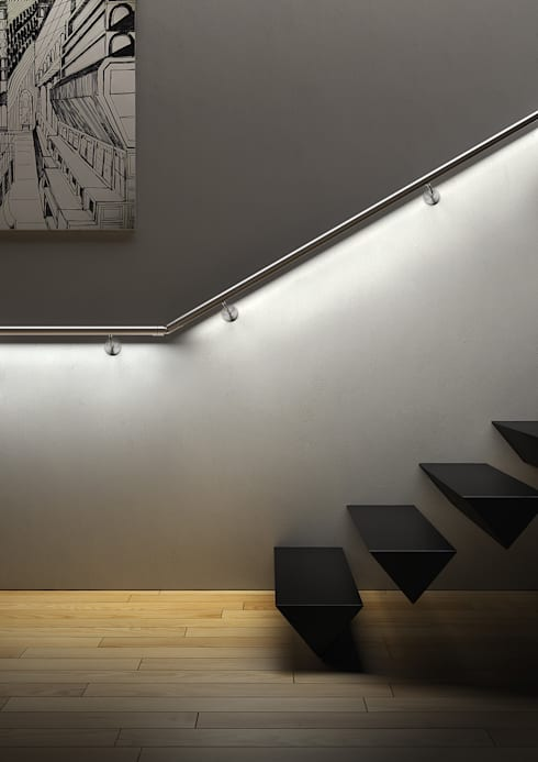 IAM Design LED Railing: Best Product 2015: Ingresso, Corridoio & Scale in stile in stile Minimalista di IAM Design