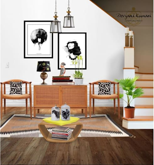 Living Area: modern Living room by Devyani Kumari Lifestyle & Designs