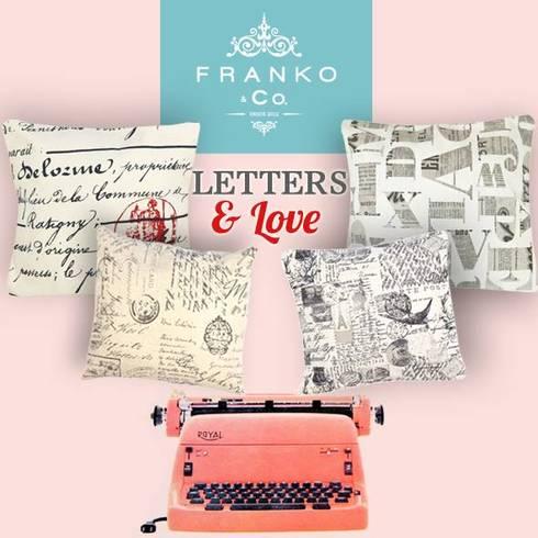 Cojines Letters: Hogar de estilo  por Franko & Co.