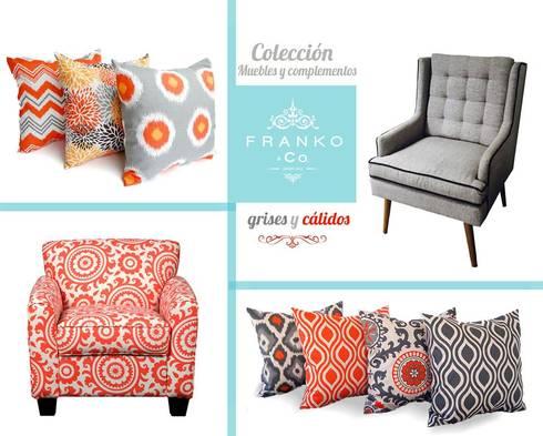Cojines Gray & Orange: Hogar de estilo  por Franko & Co.
