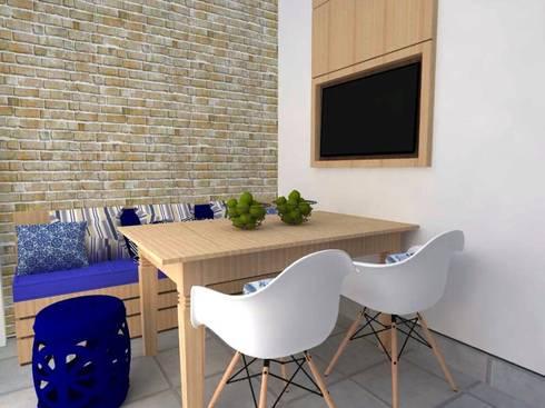 Espaço Churrasco AB: Garagens e edículas rústicas por Nádia Catarino - Arquitetura e Design de Interiores