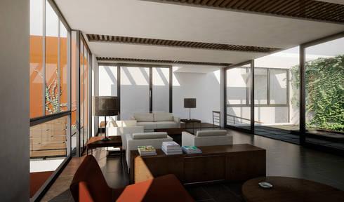RESIDENCIA JARDINES DEL BOSQUE: Salas de estilo minimalista por TAQ arquitectura