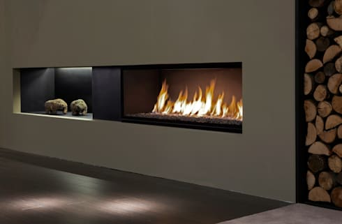 Lareiras Metalfire - Unique Gás: Salas de estar modernas por Biojaq - Comércio e Distribuição de Recuperadores de Calor Lda