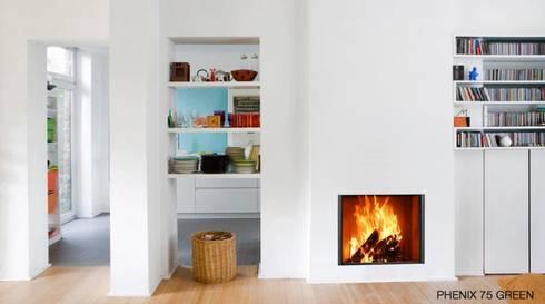 Phenix 75Green - Bodart&Gonay: Salas de estar modernas por Biojaq - Comércio e Distribuição de Recuperadores de Calor Lda