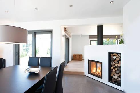 Recuperadores Lenha Bodart&Gonay - Gama Concept 760 Green Dupla Face: Salas de estar modernas por Biojaq - Comércio e Distribuição de Recuperadores de Calor Lda