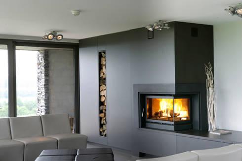 In Fire Scope 745 (esq ou dir): Salas de estar modernas por Biojaq - Comércio e Distribuição de Recuperadores de Calor Lda