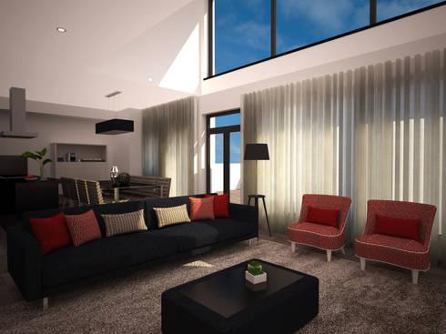 Projecto 3D - Decoração sala estar e jantar - Moradia Alcochete: Sala de estar  por Mariline Pereira - Interior Design Lda.