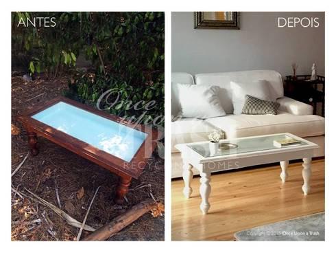 MESA DE CENTRO INGLATERRA * Antes & Depois: Sala de estar  por Once Upon a Trash