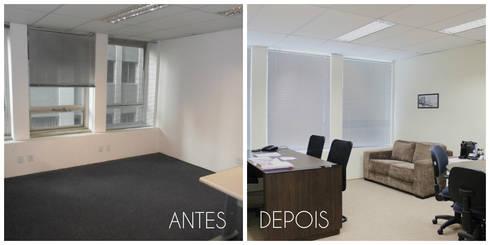 Antes e depois da reforma da sala da diretoria: Espaços comerciais  por É! Arquitetura e Design