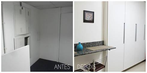 Antes e depois da reforma da copa: Edifícios comerciais  por É! Arquitetura e Design