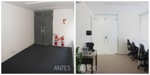 Antes e depois da reforma da sala de estudos: Espaços comerciais  por É! Arquitetura e Design