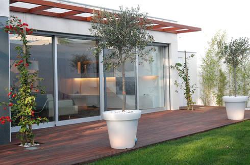 Exterior : Jardins modernos por Inexistencia Lda