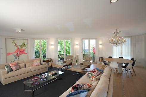 Uma atmosfera leve e colorida: Salas de estar modernas por Architect Your Home