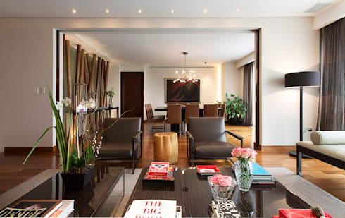Departamento Tabachines : Salas de estilo moderno por Hansi Arquitectura