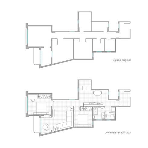 Planta de distribución del proyecto :  de estilo  de Torres Estudio Arquitectura Interior
