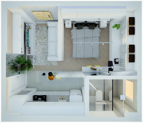 Planta baixa - Studio:   por Studio M Arquitetura