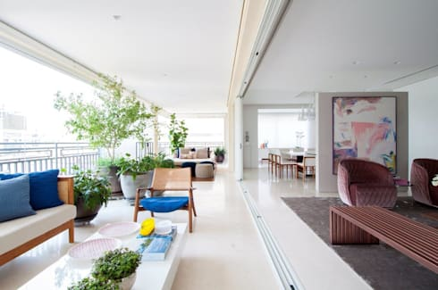 Apartamento Higienópolis: Terraços  por Toninho Noronha Arquitetura