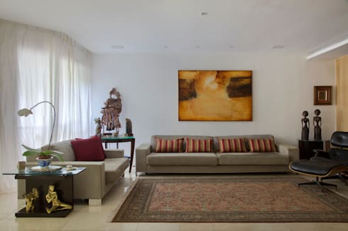 Apartamento Leblon – RJ: Salas de estar modernas por DG Arquitetura + Design