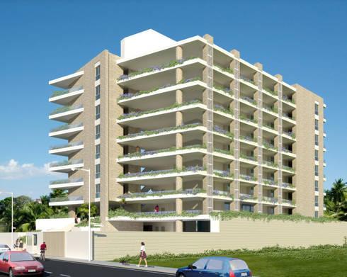 FACHADA PRINCIPAL REDIDENCIA ABISAI SUITES: Casas de estilo moderno por Grupo JOV Arquitectos