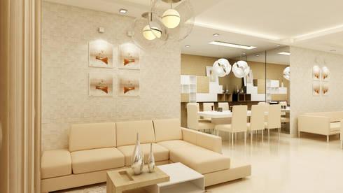 PRESTIGE GARDEN BAY, YELAHANKA, BANGALORE. (www.depanache.in): modern Living room by De Panache  - Interior Architects