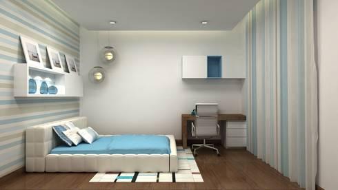 PRESTIGE GARDEN BAY, YELAHANKA, BANGALORE. (www.depanache.in): modern Bedroom by De Panache  - Interior Architects