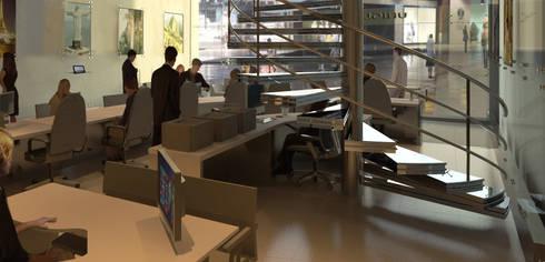 Vista sector impresión de boletos.: Pasillos y vestíbulos de estilo  por OMAR SEIJAS, ARQUITECTO