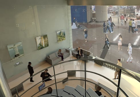 Vista hacia la sala de espera: Pasillos y vestíbulos de estilo  por OMAR SEIJAS, ARQUITECTO