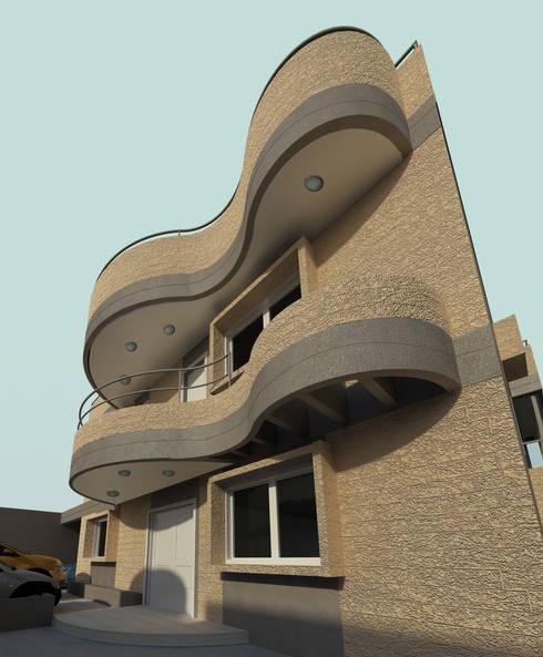 Fachada Norte: Casas de estilo moderno por OMAR SEIJAS, ARQUITECTO