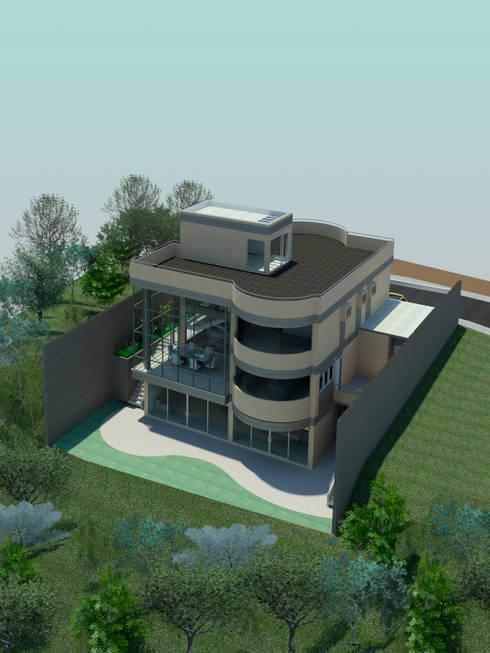 Vista general.: Casas de estilo moderno por OMAR SEIJAS, ARQUITECTO