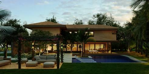 Casa Haras Larissa 1 - Santorini    Vista Frontal: Casas modernas por Eduardo Novaes Arquitetura e Urbanismo Ltda.