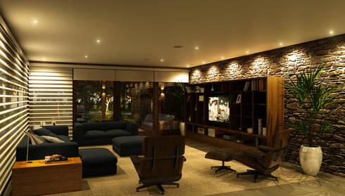 Casa Haras Larissa 1 - Santorini    Estar e Home Theater: Salas de estar modernas por Eduardo Novaes Arquitetura e Urbanismo Ltda.