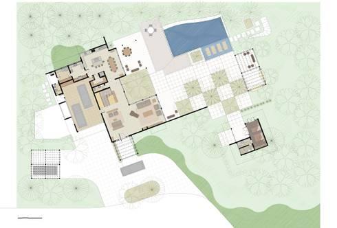 Casa Haras Larissa 1 - Santorini    Implantação e Planta do Pav. Térreo: Salas de estar modernas por Eduardo Novaes Arquitetura e Urbanismo Ltda.