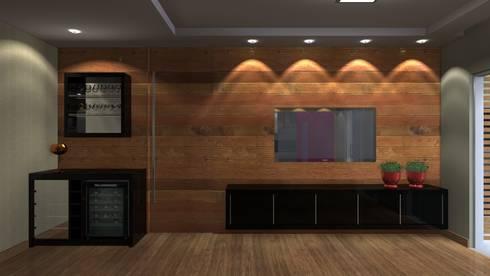 Projeto de painel de Tv com porta de correr.: Salas de estar ecléticas por Arquiteto Lucas Lincoln