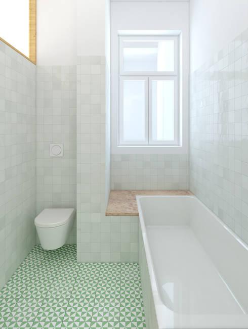 Remodelação de apartamento na Estrela, em Lisboa, de Aurora Arquitectos: Casas de banho modernas por AURORA ARQUITECTOS