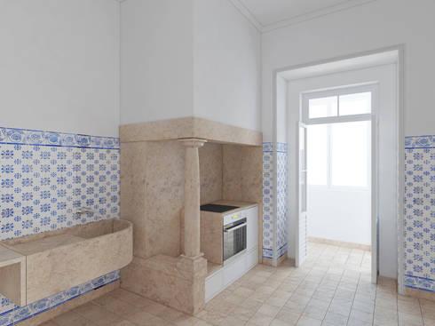 Remodelação de apartamento na Estrela, em Lisboa, de Aurora Arquitectos: Cozinhas modernas por AURORA ARQUITECTOS