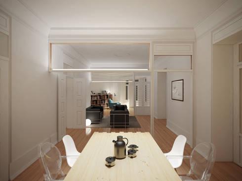 Remodelação de apartamento na Estrela, em Lisboa, de Aurora Arquitectos: Salas de jantar modernas por AURORA ARQUITECTOS