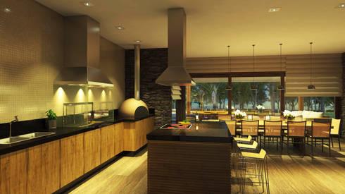 CASA ILHA DE NISYROS: Cozinhas modernas por Eduardo Novaes Arquitetura e Urbanismo Ltda.