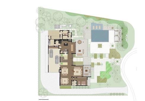 CASA ILHA DE NISYROS: Salas de estar modernas por Eduardo Novaes Arquitetura e Urbanismo Ltda.