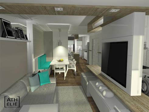 Sala de Estar e Jantar integradas: Salas de estar modernas por ATHeliê Arquitetura