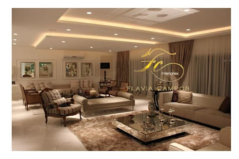 Projeto: Salas de estar modernas por FLAVIA CAMPOS ARQUITETURA E INTERIORES