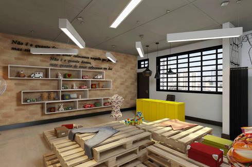 BAZAR CRECHE JOÃO XXIII - 2016: Escritório e loja  por Fernanda Gianotto Arquitetura e Interiores