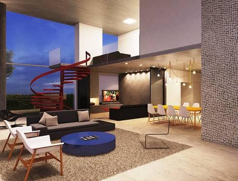 Casa EM: Salas de estar minimalistas por Aonze Arquitetura
