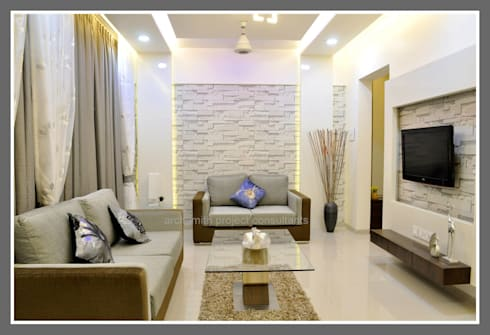 Amanora Park Town.: modern Living room by Archsmith project consultant