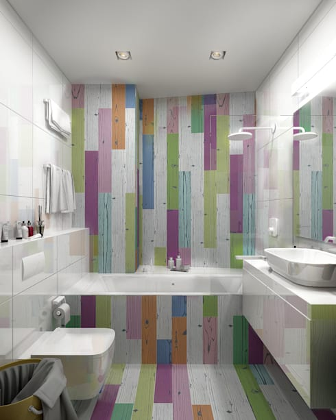 Трехкомнатная квартира для молодой семьи в современном стиле с элементами поп-арта: Ванные комнаты в . Автор – Studio 25