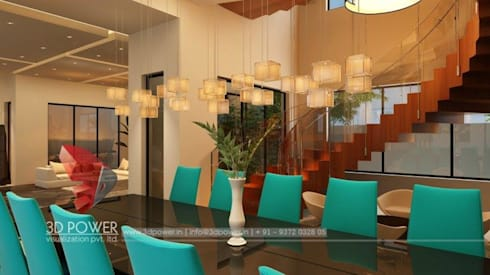 Luxurious Bungalow Interiors: modern Dining room by 3D Power Visualization Pvt. Ltd.