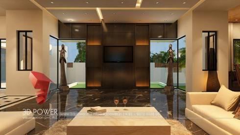 Luxurious Bungalow Interiors:  Corridor & hallway by 3D Power Visualization Pvt. Ltd.