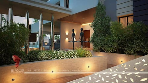 Beautiful Exteriors!:  Terrace by 3D Power Visualization Pvt. Ltd.