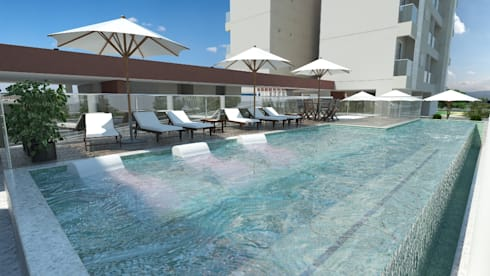 Residencial Solariun: Piscinas modernas por Cavalheiro e Lopes Arquitetos Associados