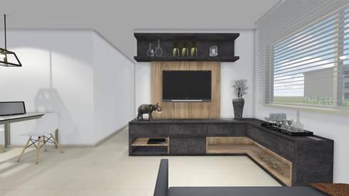 Apartamento Jovem Homem: Sala de estar  por Áurea Arquitetura e Design